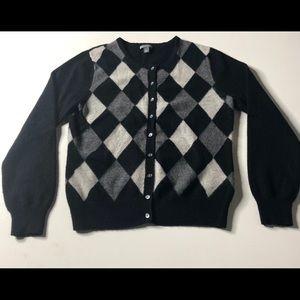 Apt 9 100% Cashmere Argyle Sweater W-L